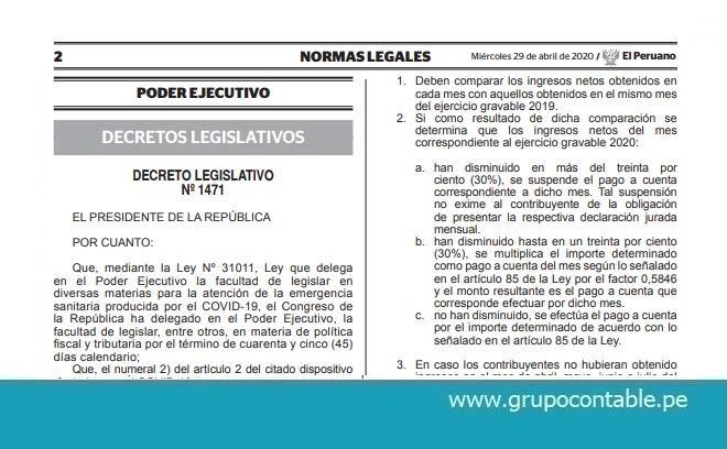 Publican Decreto Legislativo Nº 1471 que modifica la Ley del Impuesto a la Renta y otras disposiciones