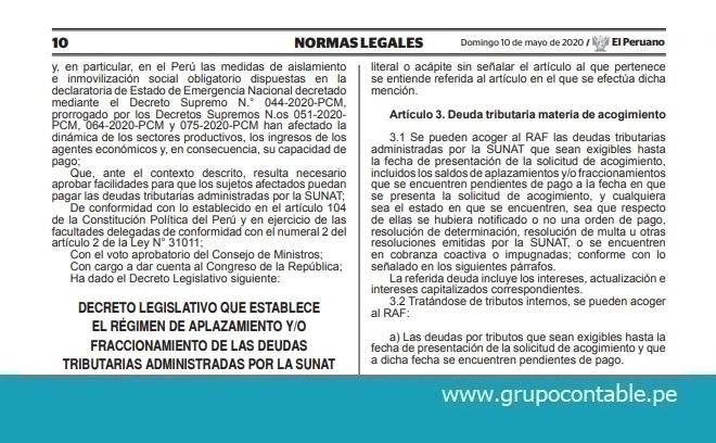 Publican Decreto Legislativo que establece el Régimen de Aplazamiento y/o Fraccionamiento de las deudas tributarias administradas por la SUNAT