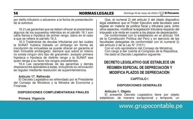 Publican Decreto Legislativo que establece un régimen especial de depreciación y modifica plazos de depreciación