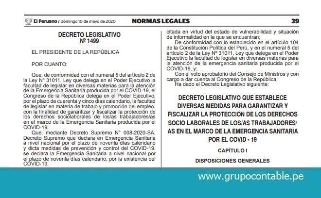 Publican Decreto Legislativo N° 1499 que establece diversas medidas para garantizar y fiscalizar la protección de los derechos socio laborales de los/as trabajadores/as en el marco de la Emergencia Sanitaria por el COVID – 19