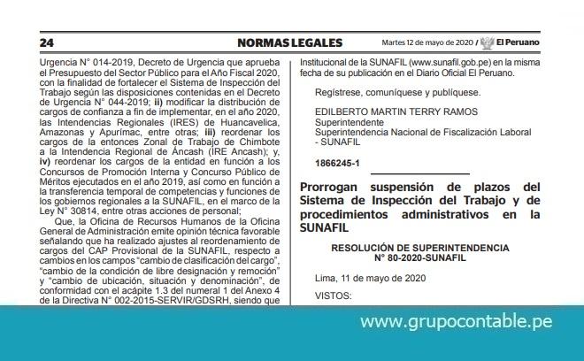 Prorrogan suspensión de plazos del Sistema de Inspección del Trabajo y de procedimientos administrativos en la SUNAFIL