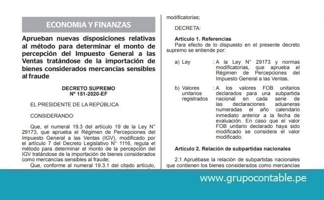 Aprueban nuevas disposiciones relativas al método para determinar el monto de percepción del Impuesto General a las Ventas tratándose de la importación de bienes considerados mercancías sensibles al fraude