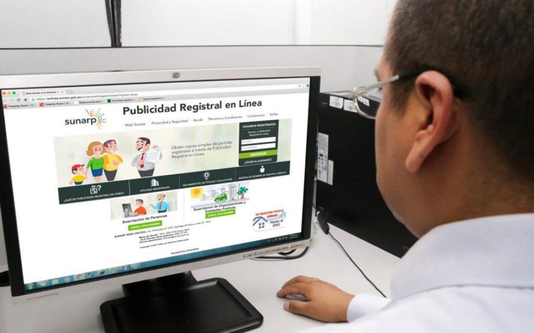 Usuarios podrán obtener en línea copias literales de partidas registrales de la Sunarp