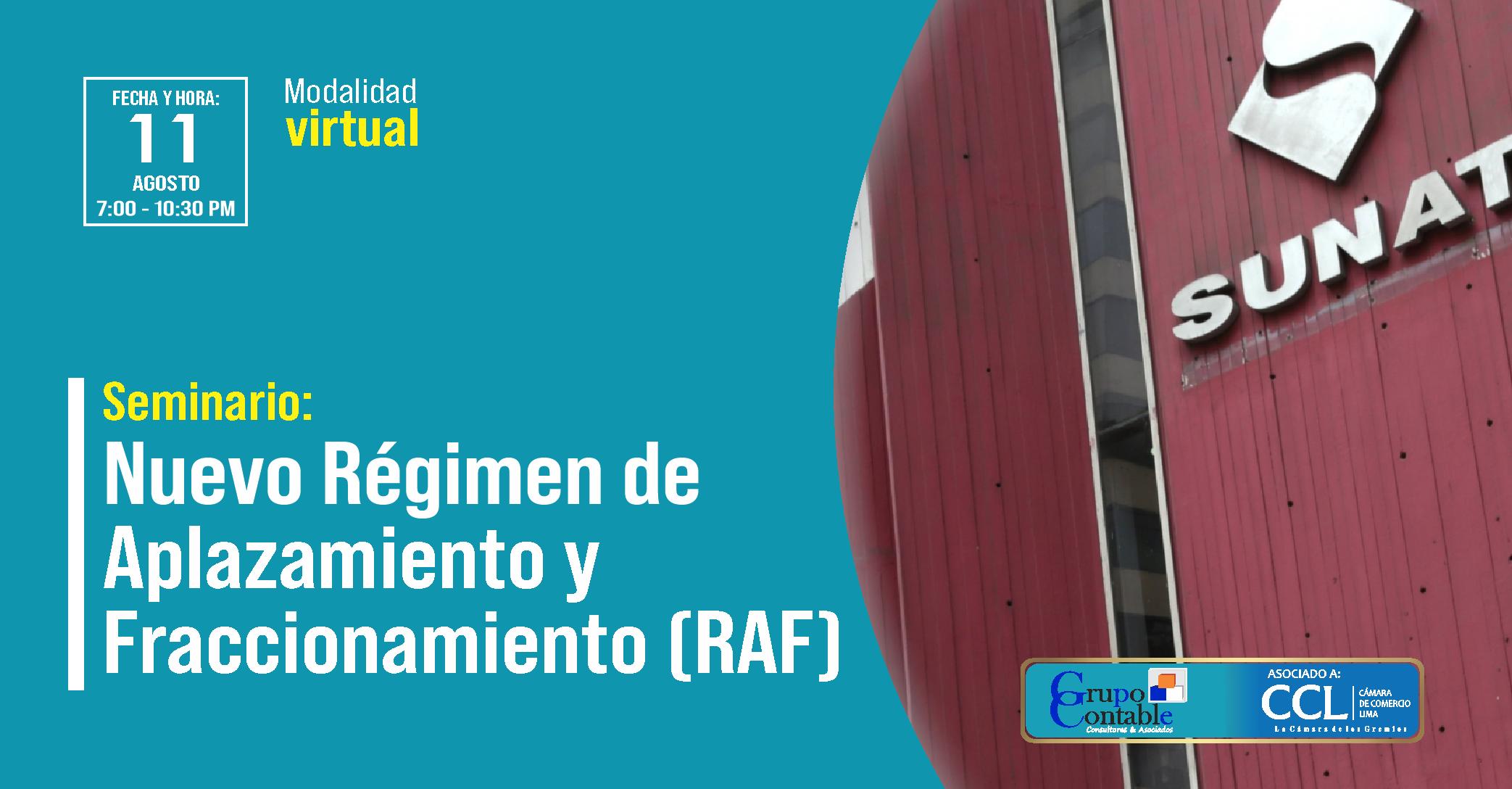 Seminario: Nuevo Régimen de Aplazamiento y Fraccionamiento (RAF)