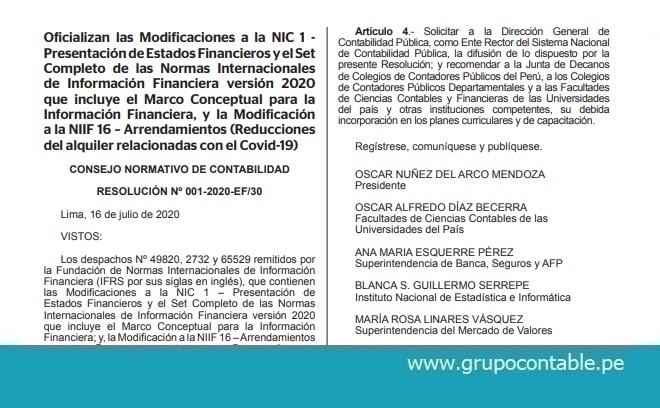Oficializan las Modificaciones a la NIC 1