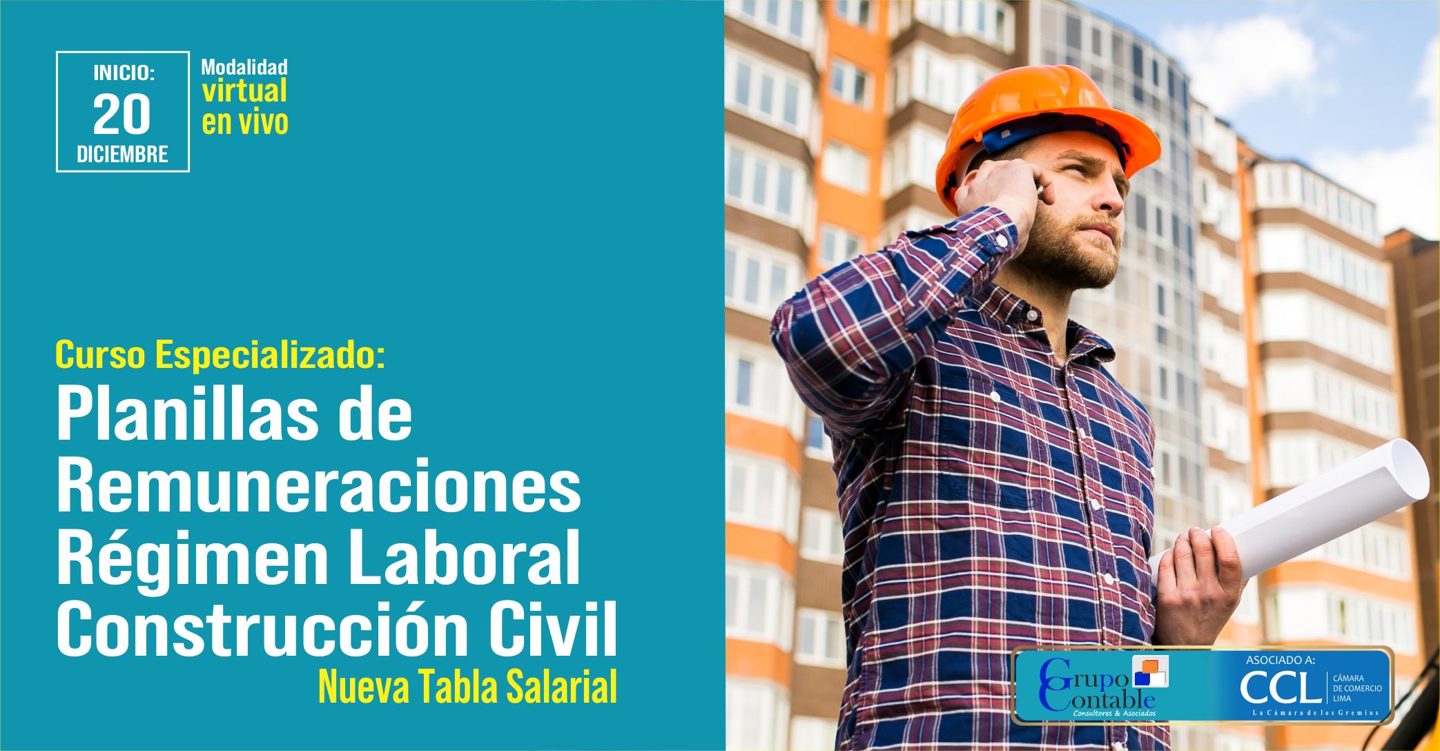 Curso Especializado en Planillas de Remuneraciones Régimen Laboral Construcción Civil